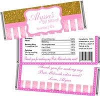 Pink & Gold Bat Mitzvah Candy Wrappers