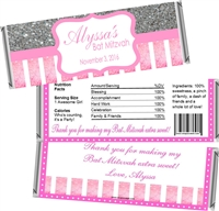 Pink & Silver Bat Mitzvah Candy Wrappers