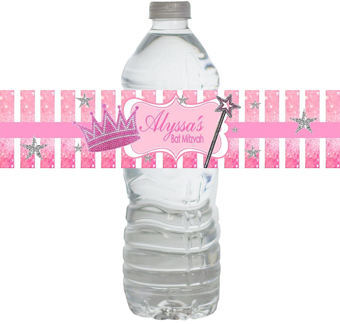 Princess Bat Mitzvah Waterproof Water Bottle Labels Larger Photo