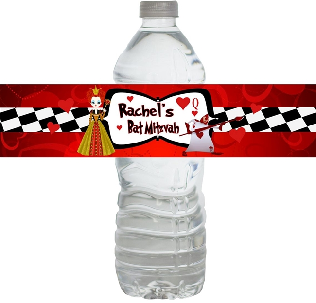 Queen of Hearts Bat MItzvah Waterproof Water Bottle Labels