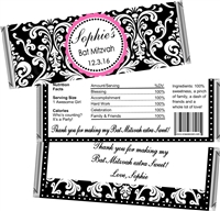 Damask Bat Mitzvah Candy Wrappers