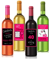Women's 40th Birthday Wine Bottle Labels (set of 4)