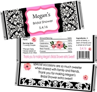 Damask Pink & Black Bridal Shower Candy Wrappers