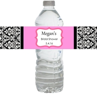 Damask Bridal Shower Waterproof Water Bottle Labels