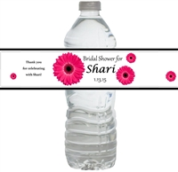 Gerber Daisy Bridal Shower Waterproof Water Bottle Labels