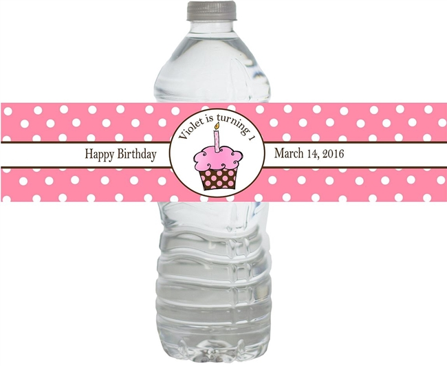 1st Birthday Pink Cupcake Waterproof Water Bottle Labels