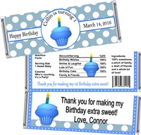 1st Birthday Blue Cupcake Candy Wrappers