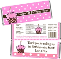 1st Birthday Pink Cupcake Candy Wrappers
