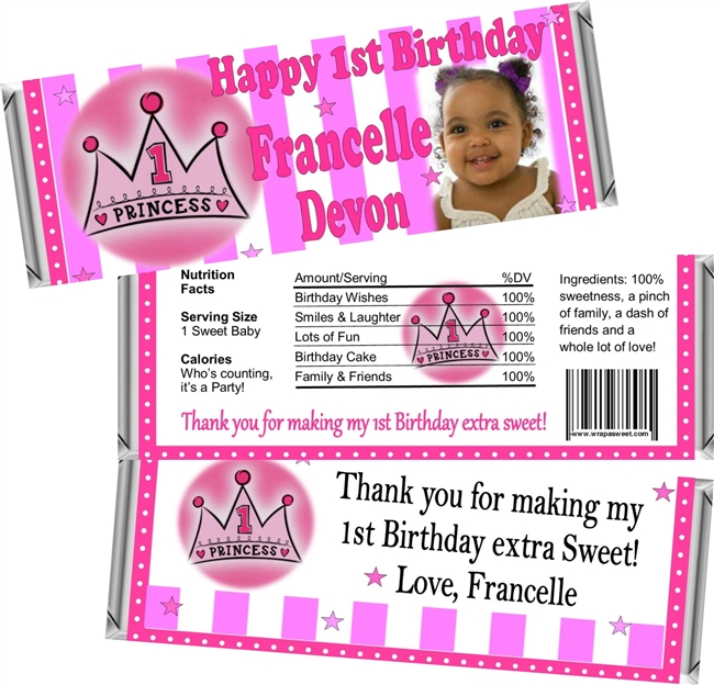 1st Birthday Candy Wrappers