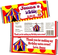 1st Birthday Circus Candy Wrappers