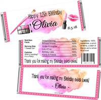 Make Up Girl's Birthday Candy Wrappers