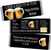 Cheers & Beers Men's Birthday Candy Wrappers