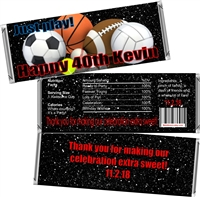 Sports Theme Men's Birthday Candy Wrappers
