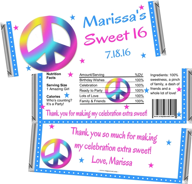 Peace Sign Sweet 16 Birthday Candy Wrappers