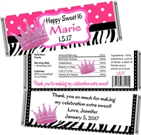 Princess Sweet 16 Birthday Candy Wrappers