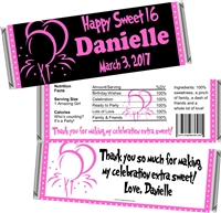 Balloon Sweet 16 Birthday Candy Wrappers