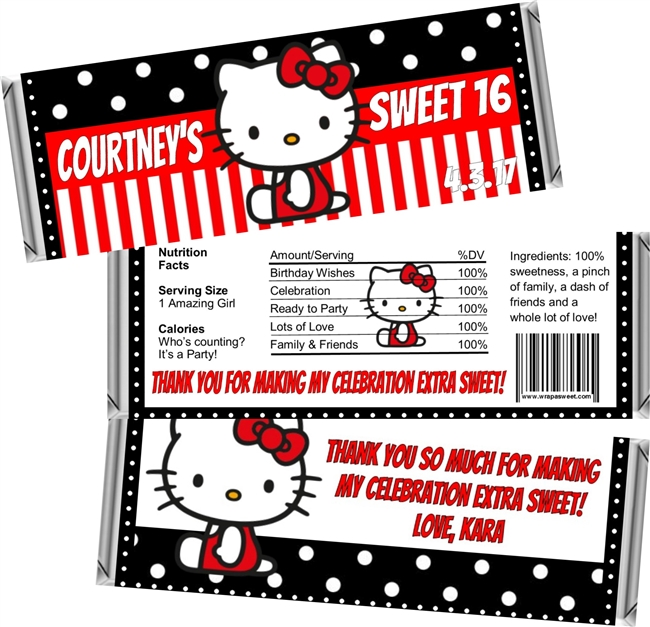 Hello Kitty Sweet 16 Birthday Candy Wrappers