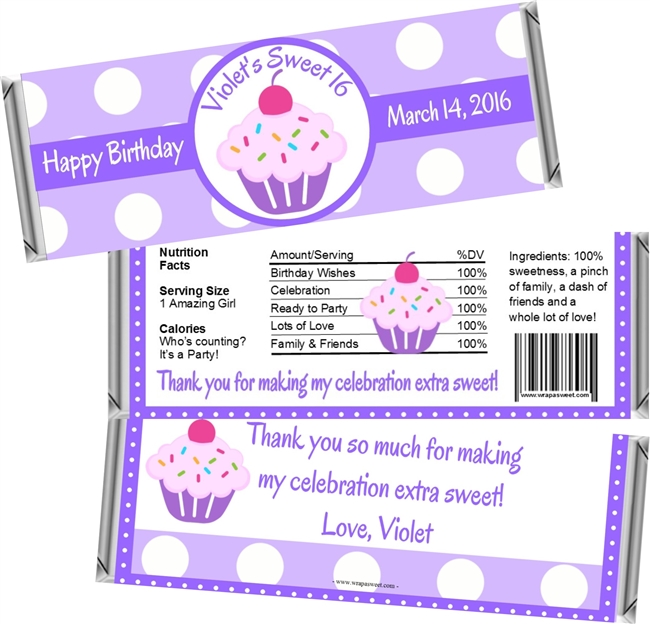 Lavender Cupcake Sweet 16 Birthday Candy Wrappers