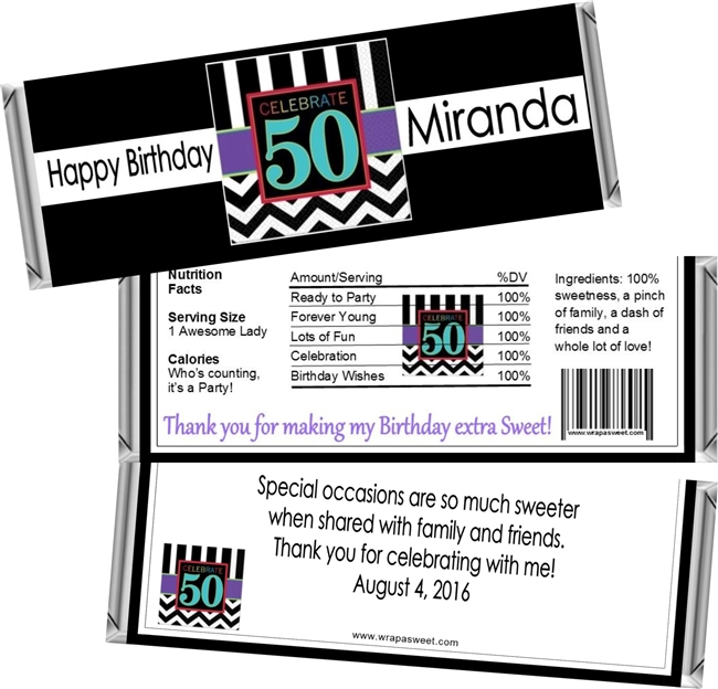 Woman's Birthday Candy Wrappers