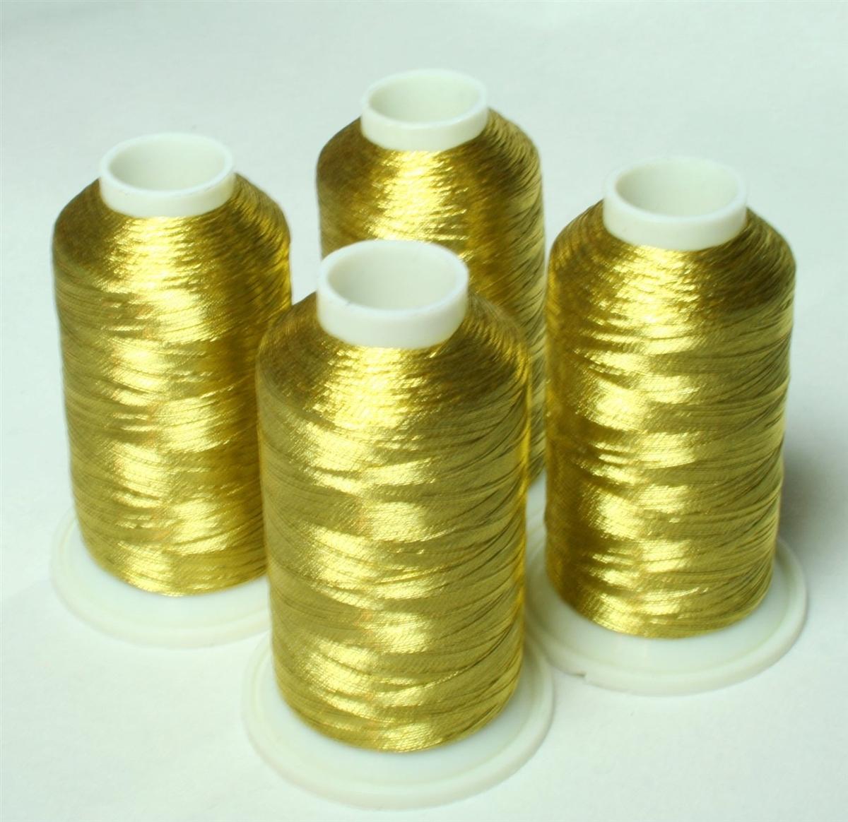 4 Cones Of Antique Gold Metallic Machine Embroidery Thread