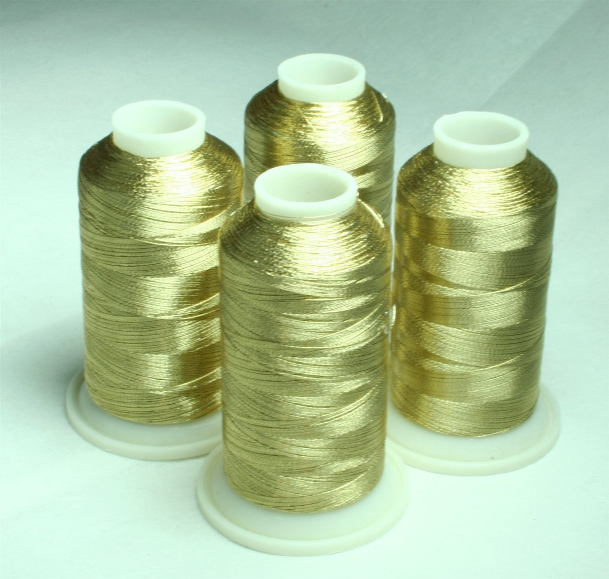 White Gold Metallic Machine Embroidery Thread 4 Cones