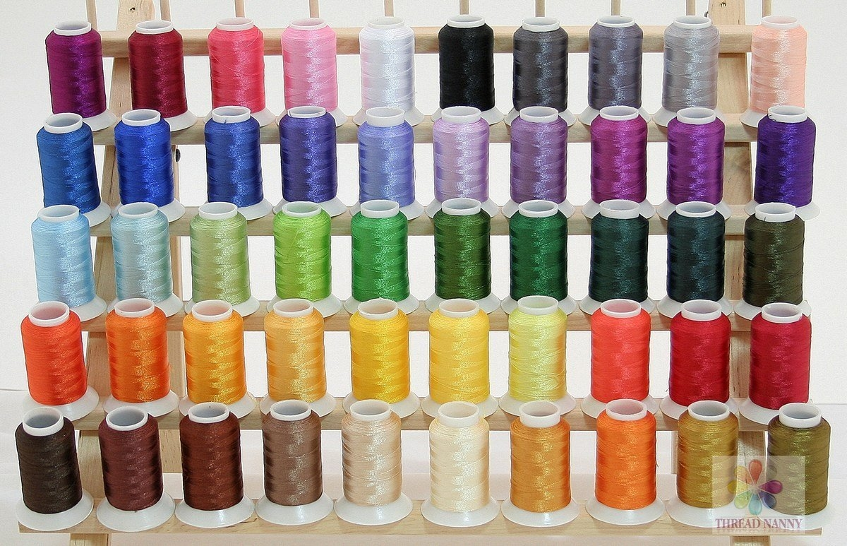 50 Cones Poly Machine Embroidery Thread Compatible with Brother and Babylock Machines 40wt 550yards Works with Brother//Babylock Embroidery Machines