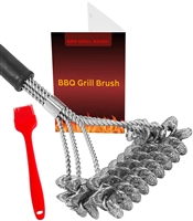 ThreadNanny Bristle Free Grill Brush for Safe BBQ Cleaning/Stainless Steel - Rust Free/Grilling Accessories Cleaner for Weber Gas/Charcoal Porcelain/Ceramic/Iron/Steel Grill Grates