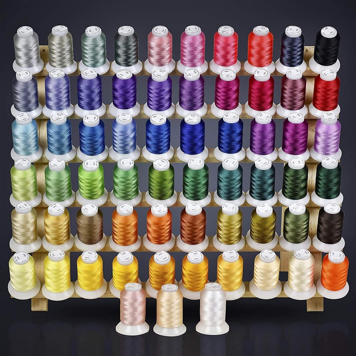 Threadnanny 63 Brother Colors Embroidery Thread Set 40wt Polyester