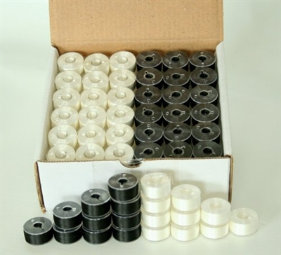 Black & White Pre-Wound Bobbins for BROTHER