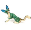 Gervaso the Green Fox - Oaxacan Woodcarving for Sale