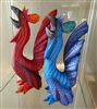 2 Alebrije Roosters Genuine Oaxacan Wood Carving Mexican Folk Art - Cluck Norris & Cluck Kent by Artist Florencio Fuentes Melchor