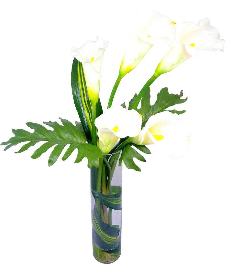 Calla Lily With Monstera Leaf In Cylinder Vase