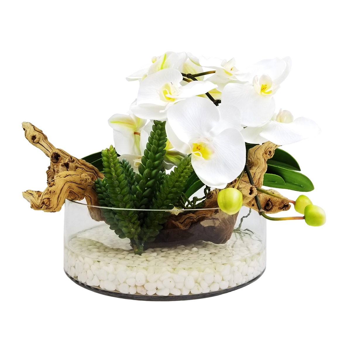 Phalaenopsis Orchid And Natural Wood Floral Arrangement In Glass Vase