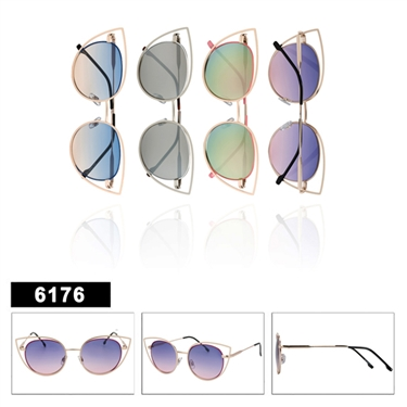 Mirrored Cat Eye Sunglasses 6176