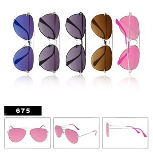 Metal Aviator Sunglasses-675