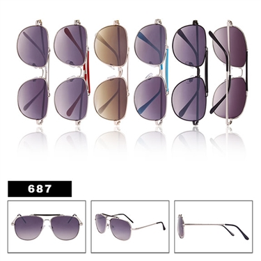 Metal Framed Aviator Sunglasses-687