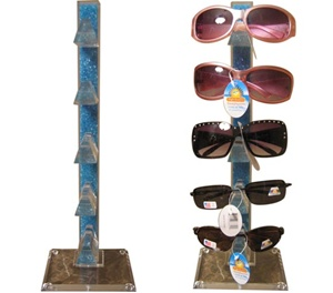 Clear wholesale sunglass display rack filled with blue beads