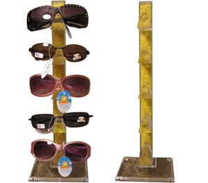Sturdy plastic wholesale sunglass display-holds 5 pairs