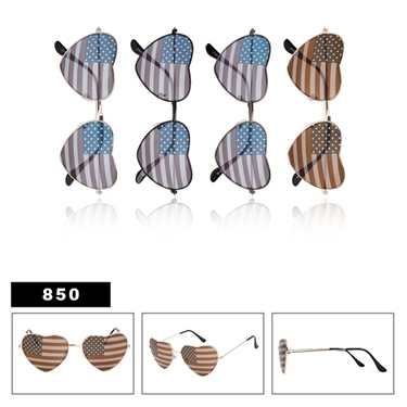Heart Shaped United States Flag Sunglasses