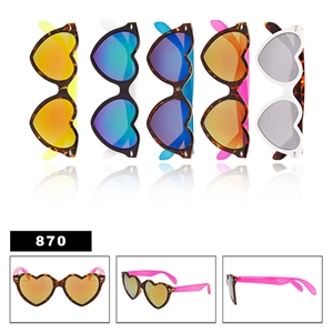 Heart Sunglasses with Mirror Lens