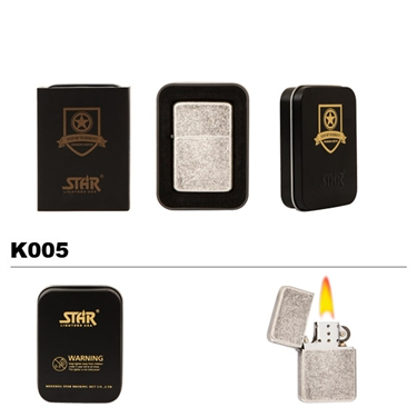 Brass Oil Lighter-Silver with Flecks-K005