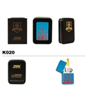 Brass Oil Lighter-Red Flames-K020