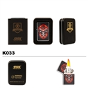 Brass Oil Lighter-Skull on Fire-K033