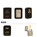 Brass Oil Lighter-Gold Etched Dragon-K035
