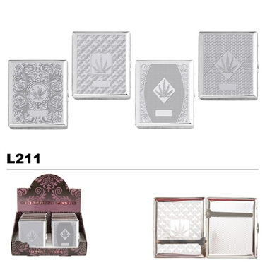 Assorted Embossed Pot Leaves Cases for Cigarettes