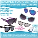 Assorted wholesale sunglasses sample pack.