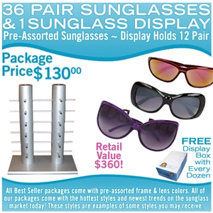 36 assorted wholesale sunglasses and display rack.