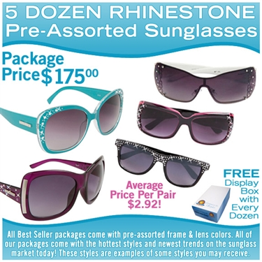 5 different dozens of wholesale rhinestone sunglasses.