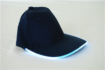 Led Lighted Glow Hat Navy Fabric White LED