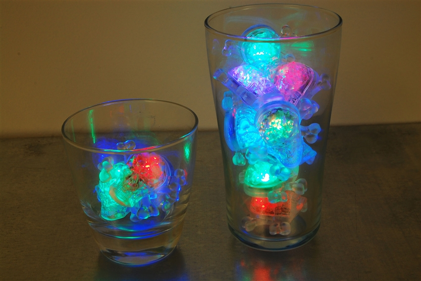 Rainbow LiteCubes 8 Mode Light Up Skull Ice Cubes